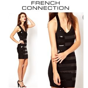 FRENCH CONNECTION Black Bandage Sequin Dress 0